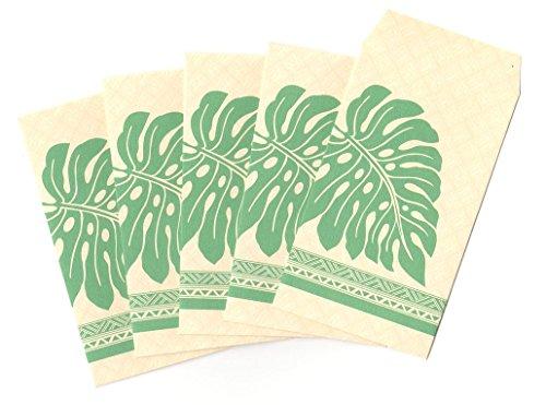 ハワイアン雑貨/ハワイ 雑貨 【マウナロア】 ぽち袋 5枚入り ( モンステラ ) 【ハワイ雑貨】【お土産】