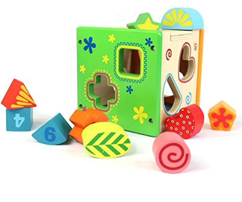 HuaQingPiJu-JP 木製の形状ソーター幾何学的な並べ替えボックス子供のための教育形状色認識玩具