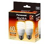 パナソニック 電球形蛍光灯 パルックボール 電球60W形相当 E26口金 電球色相当   2個入り EFD15EL11E2T