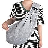 Cuby ペット スリング 飛び出し防止用ストラップ付 ねこ用/いぬ用 ドッグ 斜めショルダーバッグ 10kgまでの耐久性 (調節出来る) (grey)