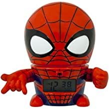 BulbBotz Marvel 2021425 Spider Man Kids Night Light Alarm Clock with Characterized Sound | red/Blue | Plastic | 5.5 inches Tall | LCD Display | boy Girl | Official