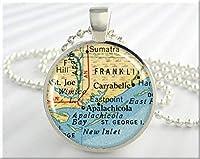 セントジョージ地図ペンダント、セントジョージ島フロリダ地図ネックレス、樹脂画像ジュエリー