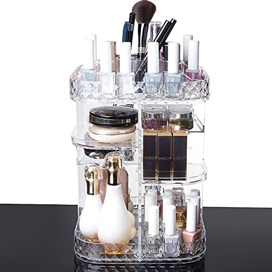 知覚する有害ながっかりした化粧品収納ボックス メイクケース メイクボックス 化粧品入れ コスメ収納スタンド (360度回転式)
