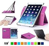 iPad Air 2(iPad 6)専用ケース,Fyy PUレザーケース スタンド機能付き マグネット開閉式 タッチペンホルダー/伸縮性ハンドストラップ/カードスロット付 360度回転可能 &解体可能タイプ 【全9色】ピンク