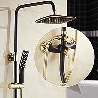 ブラックゴールドシャワーセット、スクエア8インチシャワーヘッド、ホット&コールドウォーターミキシングバルブ、バスルームハンドシャワー、ワンボタンコントロール、スリーストップウォーター