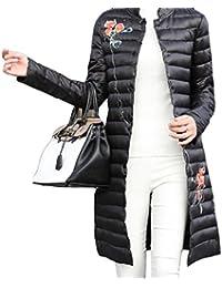 Nicellyer Women Korean Vogue Stand Collar Printing Zip Up Pocket Down Coats