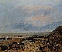手書き-キャンバスの油絵 - 美術大学の先生直筆 - Rocky Seashore Realist painter Gustave Courbet 絵画 洋画 複製画 ウォールアートデコレーション -サイズ10