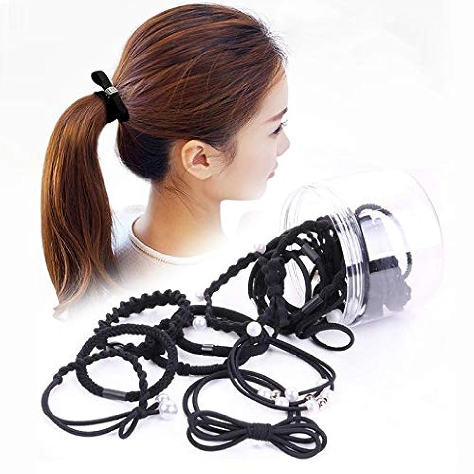 オペレーター自動影響力のあるフラワーヘアピンFlowerHairpin YHM 24 PCS/箱入りシンプルクリエイティブレディパールちょう結びスタイルヘアバンド(ブラック) (色 : Black)