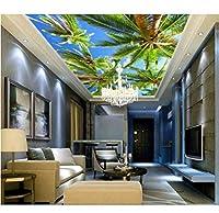 Wuyyii 3 D壁紙カスタム写真不織写真3 Dエーゲ海のヤシの木天井壁画絵画3D壁部屋壁画壁紙