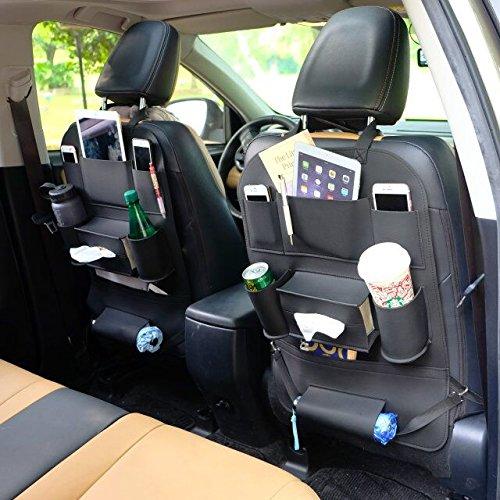 Bigbear 高品質シートバックポケット 車用ポケット 収納ポケット カー後部座席収納 大容量 多機能 取付簡単 収納ボックス 傘/雑誌/ボトル/カー用品収納シート ブラック
