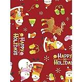 タカ印 ラッピングペーパー クリスマス 包装紙 49-4549 ウールサンタ 赤 全判 10枚巻