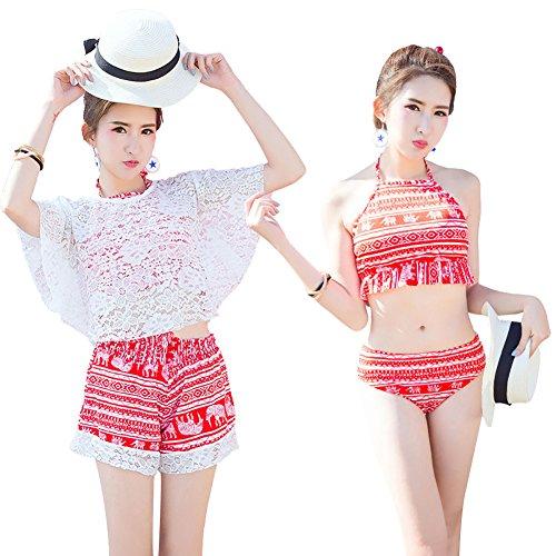 [해외](웨스트 쿠) Westkun 수영복 여성 체형 커버 탄 키니 4 종 세트 와이어 꽃 무늬 레이스 탑 귀여운/(West Kun) Westkun Swimwear Women`s Body Cover Tankini 4-Piece Set Flower Pattern Lace Tops Cute