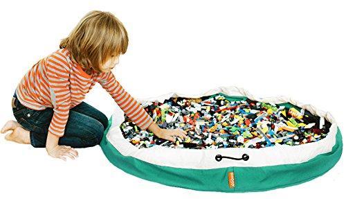 Swoop Bagオリジナルおもちゃストレージバッグ+再生マット、グリーン–の整理とクリーニングLegoピース!理想的
