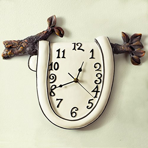 YJH+ ミュート時計、ウォールクロック樹脂クリエイティブステレオアートファッション寝室研究超現実的な人工絵画W31cmxH25cm / W40cmxH32cm 美しく、寛大な ( サイズ さいず : W40cm*H32cm )
