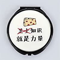 HuaQingPiJu-JP ミニラウンドポータブル知識力パターンガラスミラーサークル工芸装飾化粧品アクセサリー