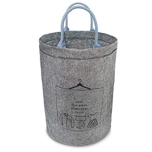 洗濯かご ランドリーバスケット 取って付き 撥水 大容量 折り畳み式 綿麻生地 収納ボックス 軽量 省スペース KIGARU(キガル) (51L 深灰色)