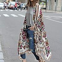 DENG&XUE New Women Chiffon Kimono Cardigan Floral Print Asymmetric Boho Loose Outerwear Beachwear Bikini Cover Up (XXXXXL)