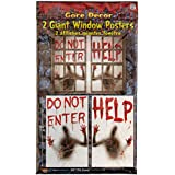 (One Size) - 2 Piece Giant Bloody Window Posters Halloween Party Decoration One Size