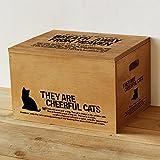 BREA-1359BR 日本製 収納ストッカー 猫柄 木製 おもちゃ箱 ペットフードケース (ブラウン)