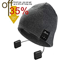 Bluetooth Beanie Hat,Topple Wireless V4.0 Superior Music Skully Beanie Hat Washable Knite Cap with headphone headset earphone Mic Audio Hands-free Calling for Running Excrise Gym Sports Fitness-Gray