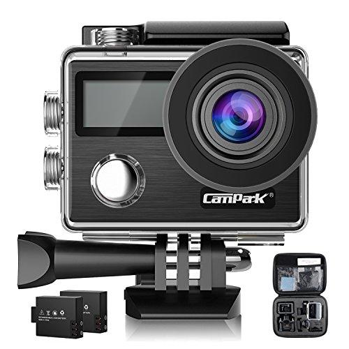 Campark 4Kアクションカメラ 2000万画素 フルHD 2インチタッチスクリーン 30m防水 【従来品改良】 手ぶれ補正 WiFi搭載 64GBカード対応 ウェアラブルカメラ 170度広角 魚眼レンズ 超絶画質 ドライブレコーダーとして使用可 2x1050mAhバッテリー 改良版 4Kカメラ 日本語対応 付属品あり 音声記録可