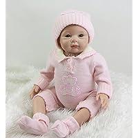 ハンドメイドシリコン赤ちゃん人形Reborn 22インチプリンセス女の子赤ちゃんフルシリコン腕Toy withピンク服キッズ誕生日ギフト