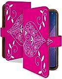 AQUOS sense2 かんたん ケース 手帳型 シンプル ハート ピンク 花柄 ワンポイント スマホケース アクオスセンス2 センスツー 簡単 手帳 カバー AQUOSsense2かんたん かんたんケース かんたんカバー 花 フラワー ハート型 [シンプル ハート ピンク/t0748e]