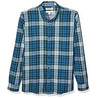Goodthreads Men's Slim-Fit Long-Sleeve Doubleface Shirt, Sea Blue Green Tartan with Chambray Medium Tall