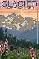 Bear andカブス花で–グレイシャー国立公園、モンタナ 16 x 24 Signed Art Print LANT-14105-709