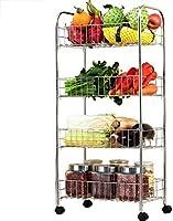 4段棚ユニット|ヘビーデューティステンレススチール収納ラック|最高金属ワイヤー棚機構スタンディングシェルフ|キッチン/バスルーム/ホーム/オフィスに最適リビングルームに最適