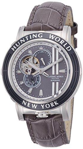 [ハンティングワールド]HUNTING WORLD 腕時計 アディショナルタイム 自動巻き レザー グレー文字盤 5気圧防水 HW993GY メンズ 【正規輸入品】