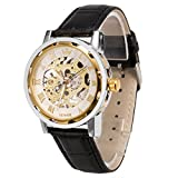 メンズ腕時計 機械式腕時計 手巻き スケルトンタイプ ウォッチ ブラック+ホワイト