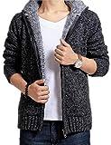 メンズ ニット パーカー キッズ ボーイ 長袖 もこもこ スウェットパーカー トップス 暖かい トップス長袖 (深灰XL)