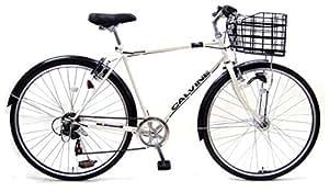 カルバイン (CALVINE) ホワイト 27インチ 7段変速 LEDオートライト クロスバイク スポーツ用自転車