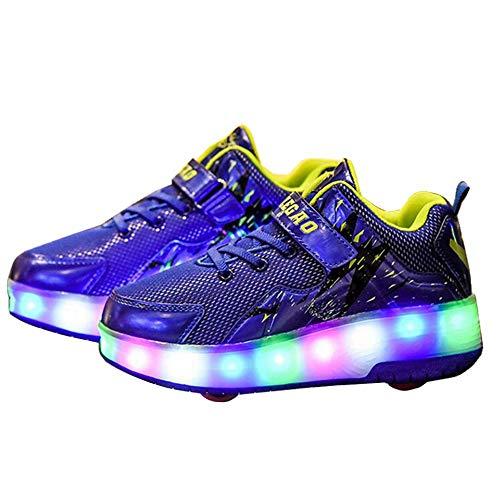 3aca69b1512da  STYLISH  ローラースニーカー ローラーシューズ スニーカー 運動靴 スポーツ 子供靴 ジュニア 男の子 女の子 光る靴 USB充電可能  取り外し可能 2輪 (21cm