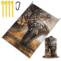 象 レジャー旅行シートピクニックマット防水145×200センチ折りたたみキャンプマット毛布オーニングテントライトと収納が簡単ポータブル巾着