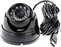 ELP Webカメラ 1MP 防犯カメラ 屋外 防水 カメラUSB 720P H.264 赤外線ナイトビジョン USBドームカメラ