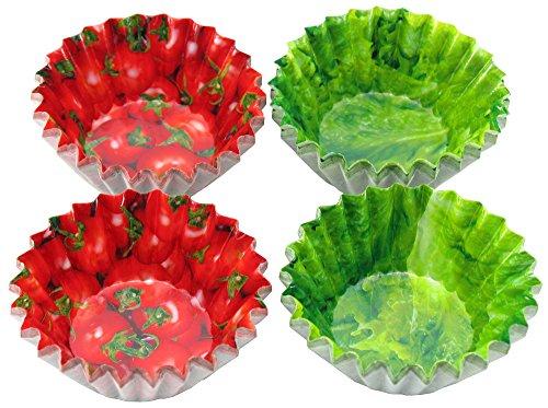 下村企販 おかずカップ7号 フレッシュ野菜柄 プチトマト レタス 2種×50枚 日本製 32438