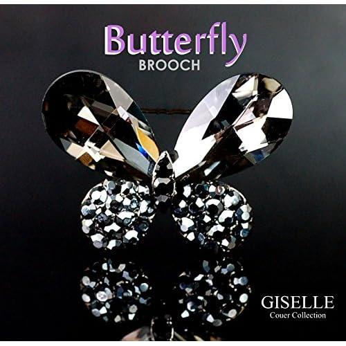 宝石 のような仕上がり AAA クリスタル × 蝶々 37石の ブローチ