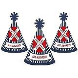 Bigドットの幸せのパーティRailroad Crossing – Mini円錐Steam Train誕生日パーティーベビーシャワーまたは帽子 – スモールLittle Party Hats – 10のセット