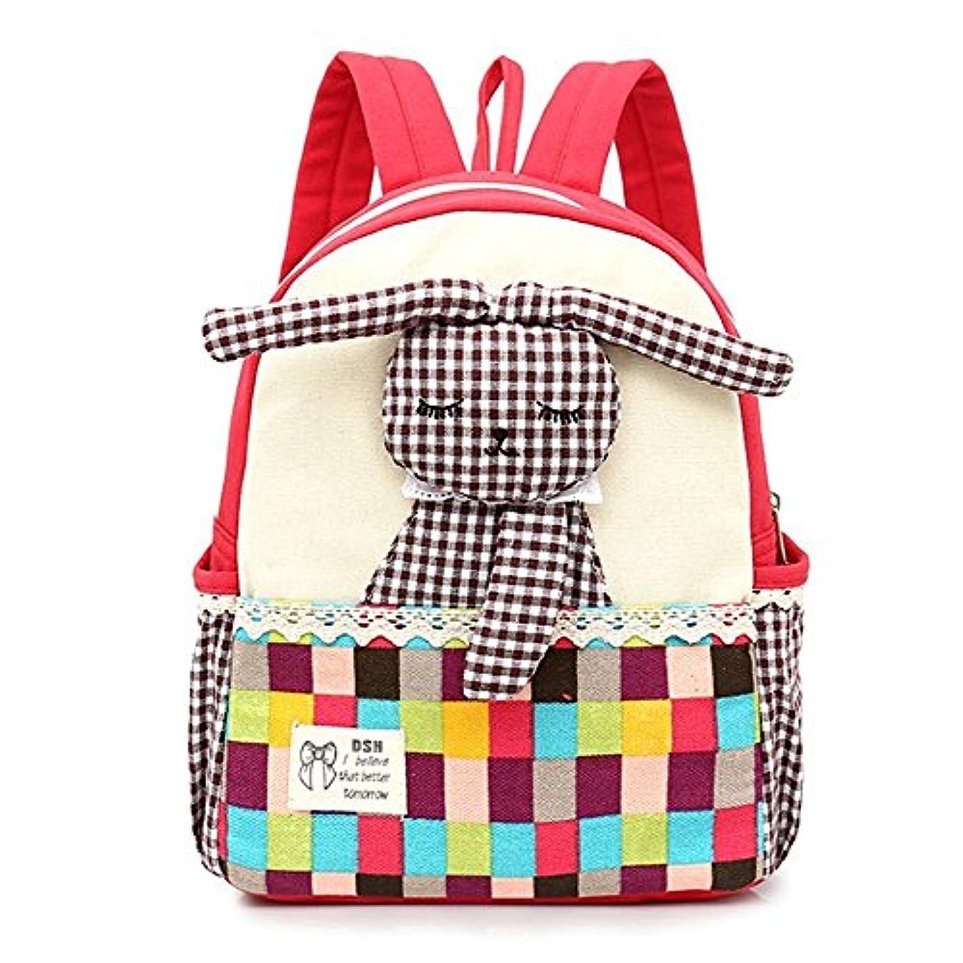実験室レタッチ遠えS-BBG キッズ リュックサック 女の子 幼稚園 小学生 子供用 通園リュック 兎飾り 格子縞柄 かわいい