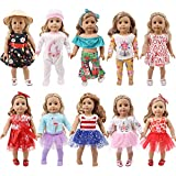ZWSISU 19 pcs Girl Doll Clothes Gift for 18-inch Doll Clothes and Accessories, Including 10 Complete Sets of Clothing