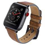 Fullmosa Yola アップルウォッチ バンド レザー 44mm 42mm 40mm 38mm コンパチ apple watch 交換用 本革 アップルウォッチ5 4 3 2 1 レディース 革ベルト メンズ (42mm, ダークブラウン+スモーキーグレー)