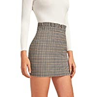 Verdusa Women's Plaid Print Frilled High Waist Bodycon Mini Skirt