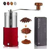 SULIVES 手挽き コーヒーミル コーヒー ステンレス製 珈琲 小型 アウトドア 20G 1~3人分 (レッド)