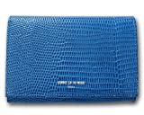 (コムサデモード・サック) COMME CA DU MODE 牛革 リザード型押し 二つ折り財布 ブルー レディース