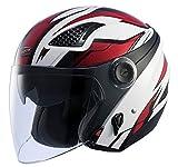 ナンカイ(NANKAI) ZEUS HELMET ゼウス レイヤー ジェットヘルメット ホワイト/レッド M NAZ-213 LAYER