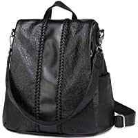 Backpack Purse for Women,VASCHY Fashion Faux Leather Anti-theft Backpack for Ladies with Vintage Weave Black