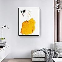 青島56A 黄色い服の女の子、北米ニューヨークの手描きの休日の美しさの文字、装飾画パーソナリティクリエイティブバー絵画寝室絵画壁画、黒フレーム 青島56A (Size : 40*80cm)