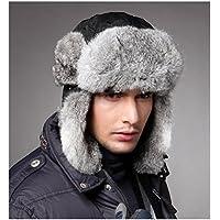 超暖かいウサギファートラッパーハットメンズ冬スキー雪Bomberキャップ帽子